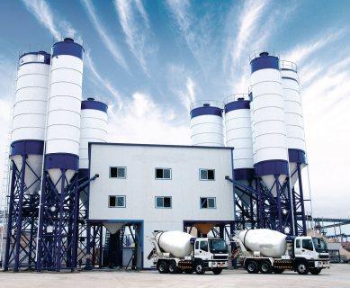 محطة خلط الخرسانة HZS90,مصنع خلط الخرسانة 90 م3/ساعة